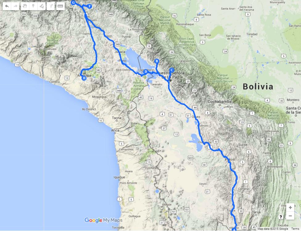 Перу и Боливия Map