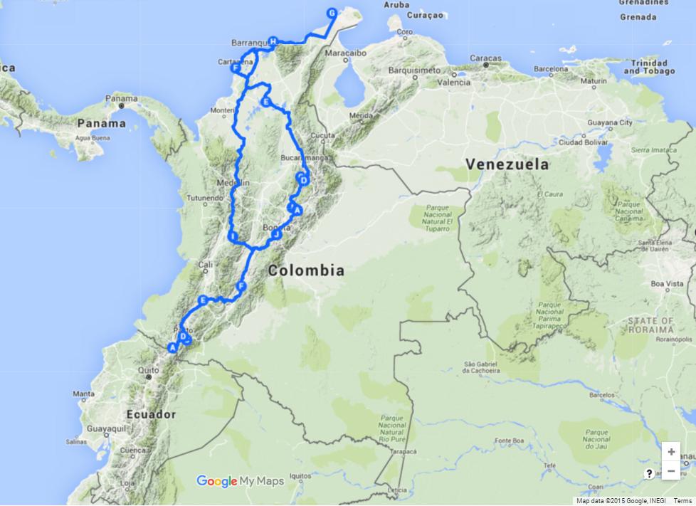 Колумбия Map